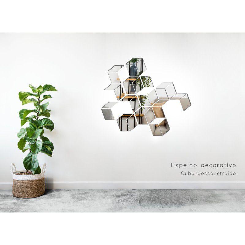 Espelho Decorativo em Acrilico Para Parede de Sala, Quarto, Cozinha e Escritorio - Modelo Conjunto Cubos