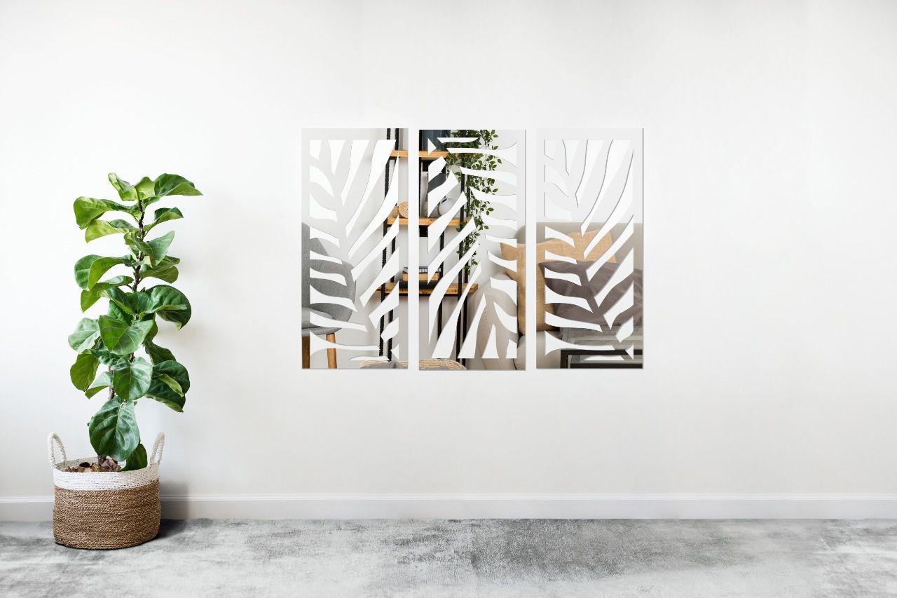 Espelho Decorativo em Acrilico Para Parede de Sala, Quarto, Cozinha e Escritorio - Modelo Conjunto Folhas