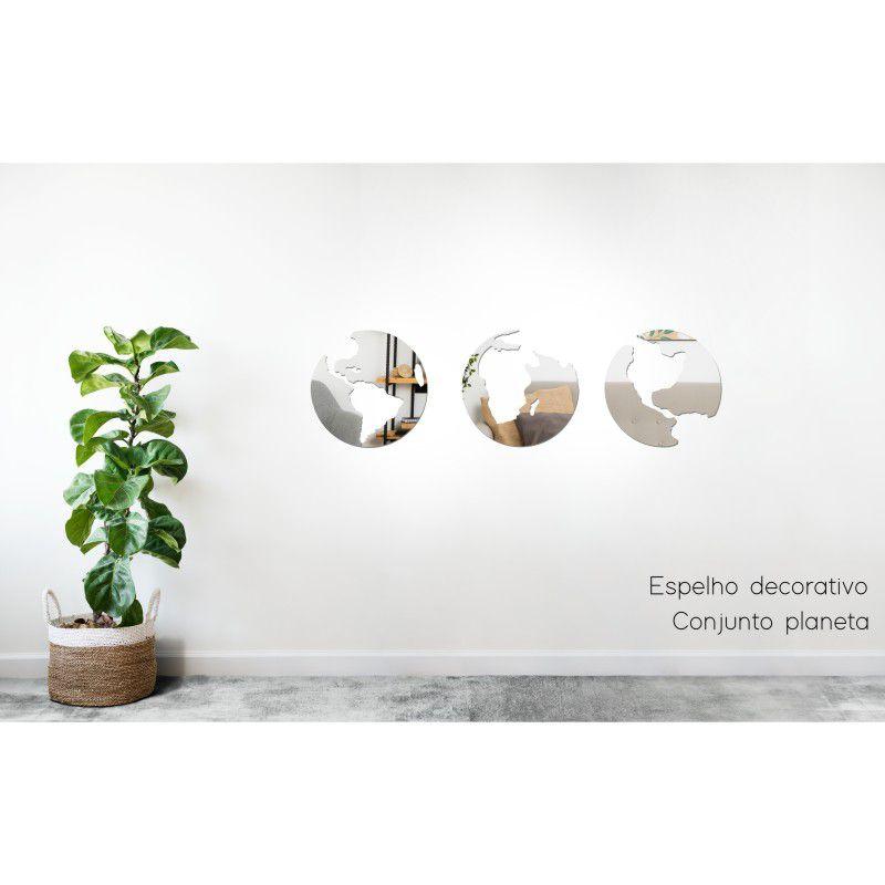 Espelho Decorativo em Acrilico Para Parede de Sala, Quarto, Cozinha e Escritorio - Modelo Conjunto Planeta
