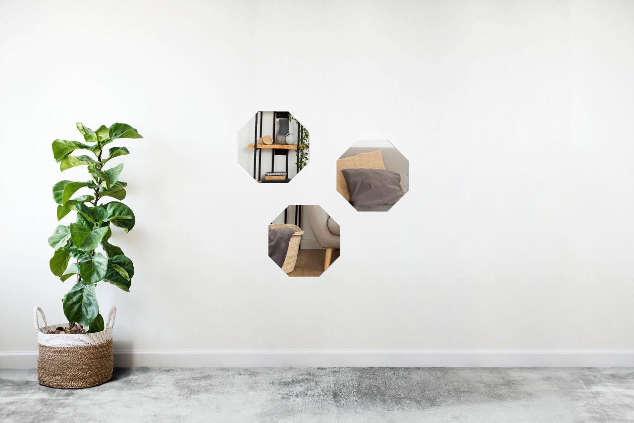 Espelho Decorativo em Acrilico Para Parede de Sala, Quarto, Cozinha e Escritorio - Modelo Conjunto Polígonos