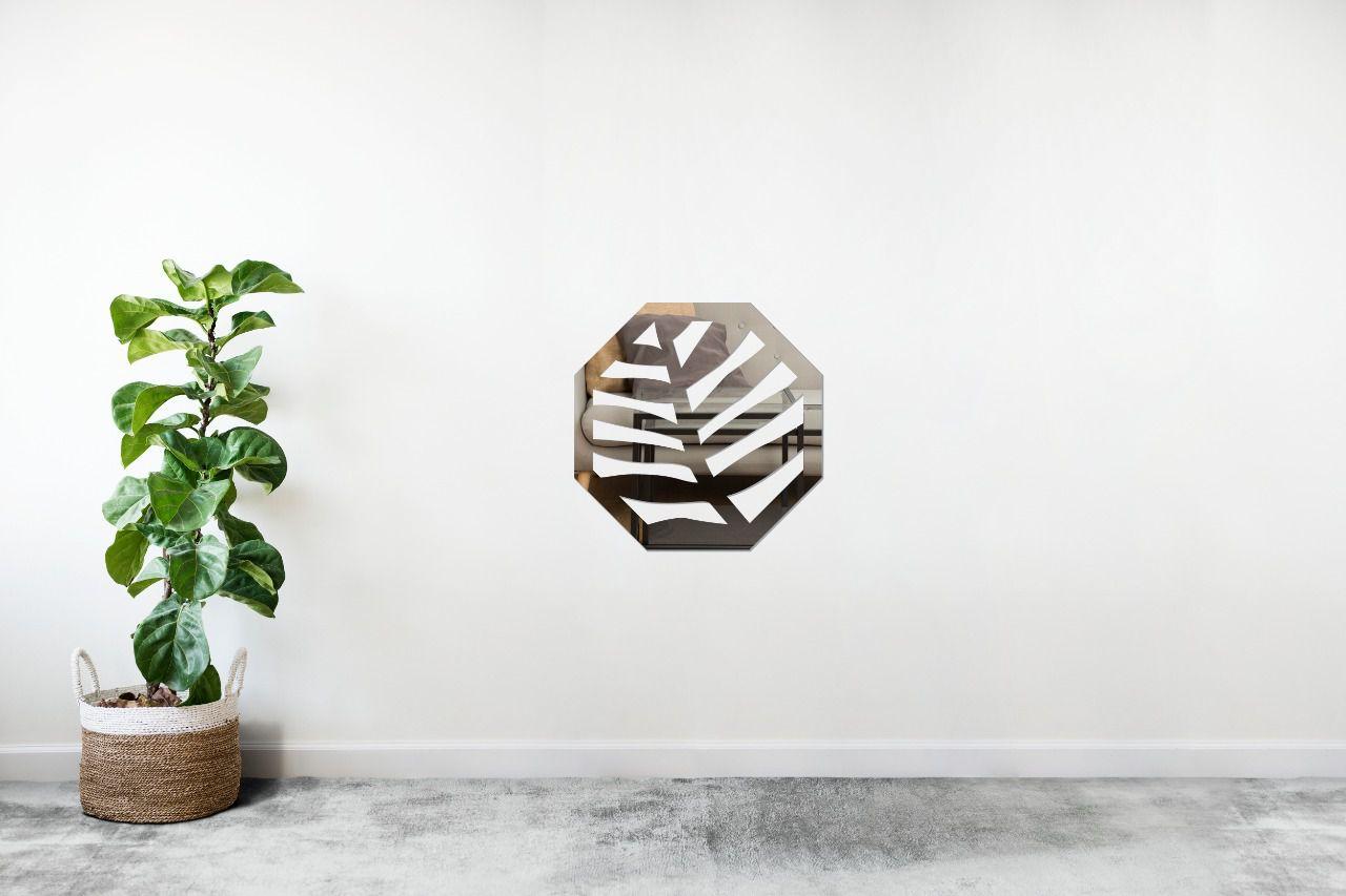 Espelho Decorativo em Acrilico Para Parede de Sala, Quarto, Cozinha e Escritorio - Modelo Conjunto Polígonos Folha