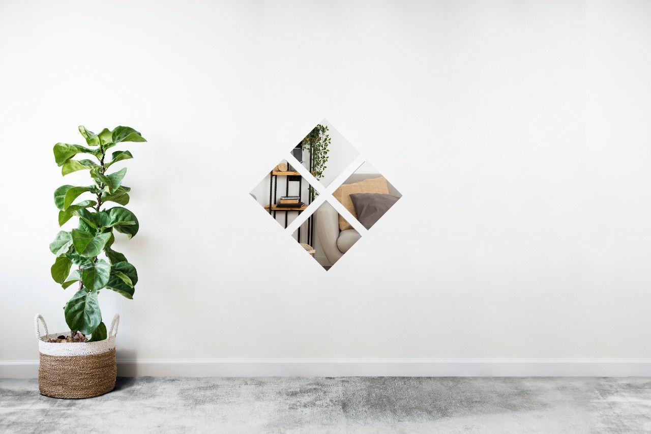 Espelho Decorativo em Acrilico Para Parede de Sala, Quarto, Cozinha e Escritorio - Modelo Conjunto Quadrados