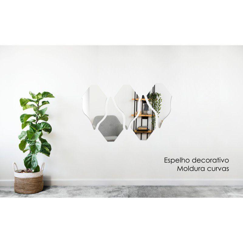 Espelho Decorativo em Acrilico Para Parede de Sala, Quarto, Cozinha e Escritorio - Modelo Curvas