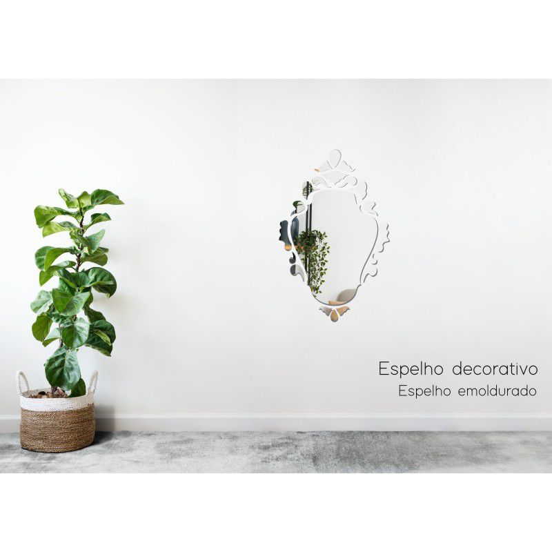Espelho Decorativo em Acrilico Para Parede de Sala, Quarto, Cozinha e Escritorio - Modelo Emoldurado Princesa