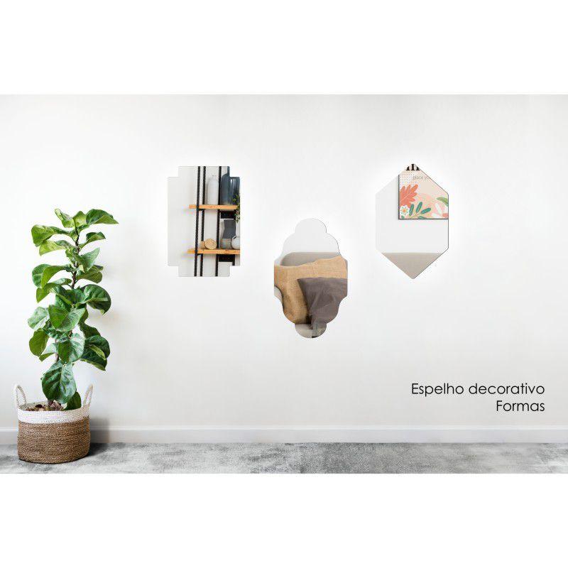 Espelho Decorativo em Acrilico Para Parede de Sala, Quarto, Cozinha e Escritorio - Modelo Formas 1