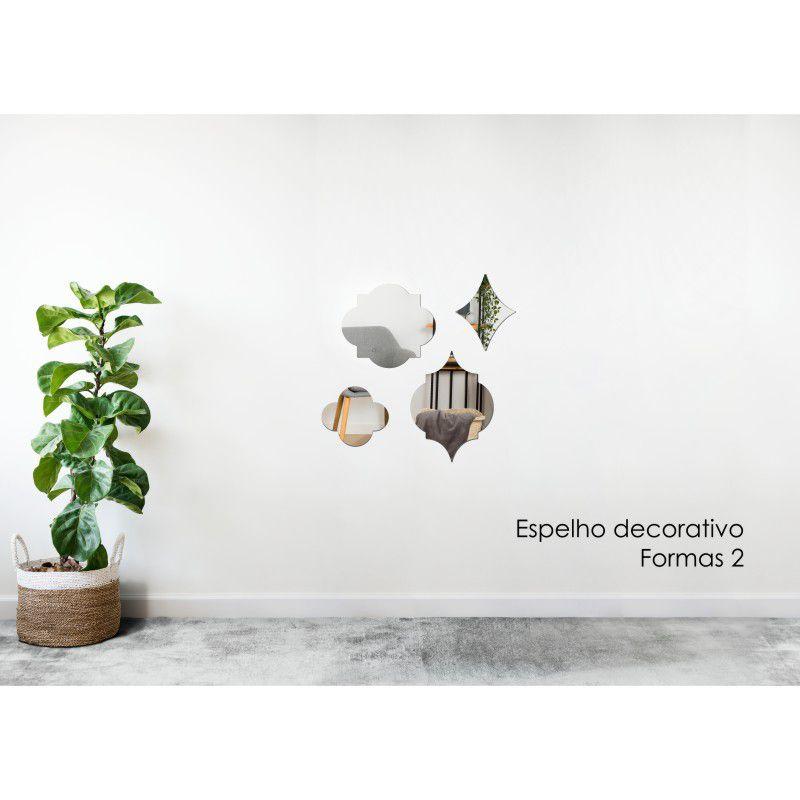 Espelho Decorativo em Acrilico Para Parede de Sala, Quarto, Cozinha e Escritorio - Modelo Formas 2