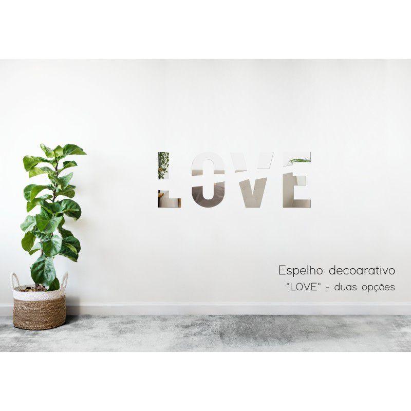 Espelho Decorativo em Acrilico Para Parede de Sala, Quarto, Cozinha e Escritorio - Modelo Love Amor 1