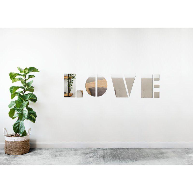 Espelho Decorativo em Acrilico Para Parede de Sala, Quarto, Cozinha e Escritorio - Modelo Love Amor 2