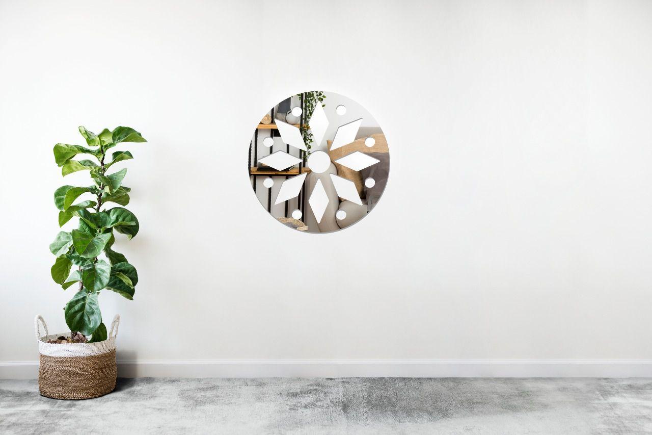 Espelho Decorativo em Acrilico Para Parede de Sala, Quarto, Cozinha e Escritorio - Modelo Mandala