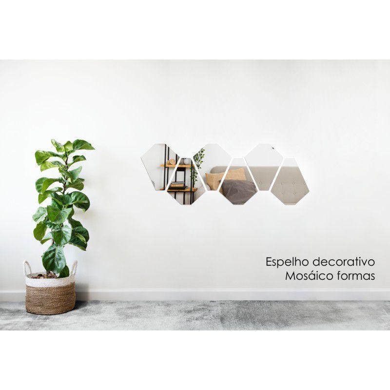 Espelho Decorativo em Acrilico Para Parede de Sala, Quarto, Cozinha e Escritorio - Modelo Mosaico Formas 1