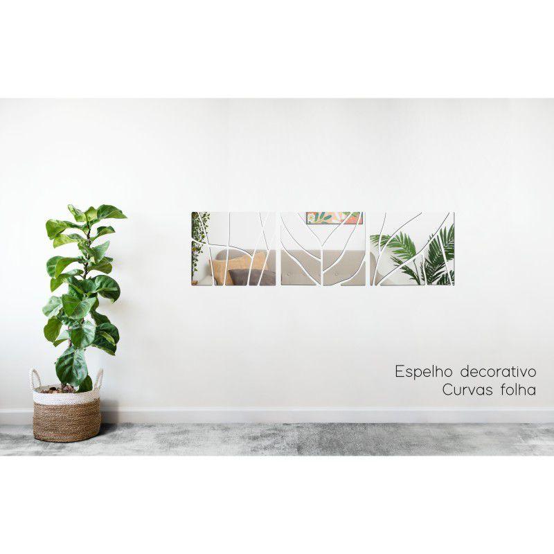Espelho Decorativo em Acrilico Para Parede de Sala, Quarto, Cozinha e Escritorio - Modelo Curvas Folhas