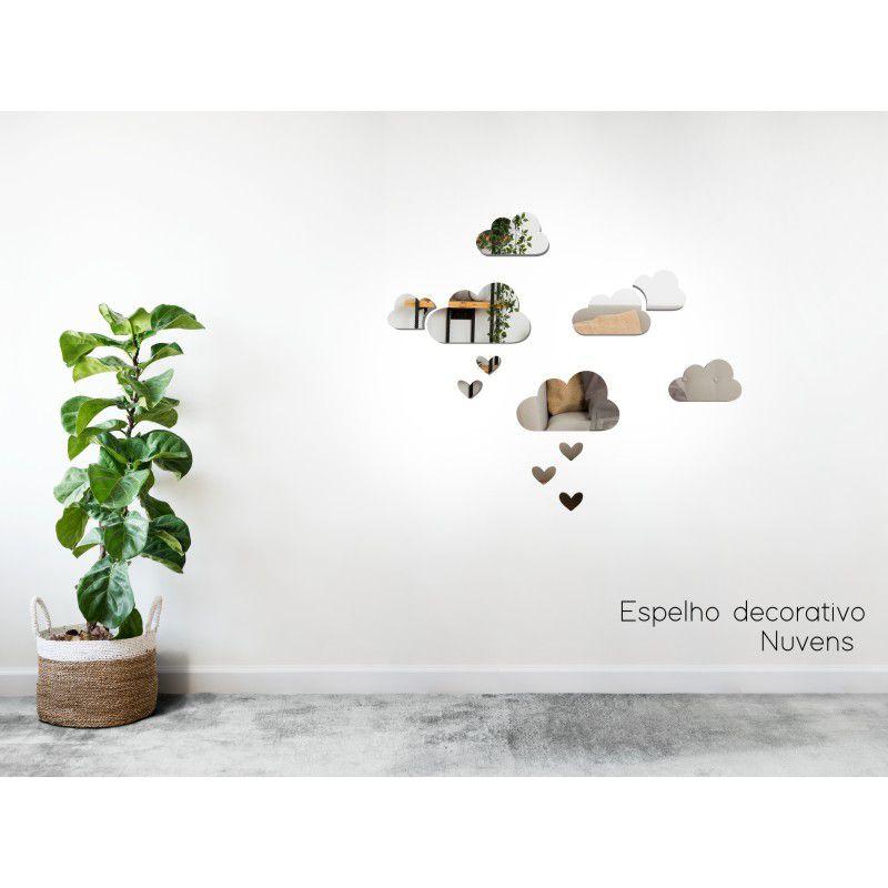 Espelho Decorativo em Acrilico Para Parede de Sala, Quarto, Cozinha e Escritorio - Modelo Nuvens