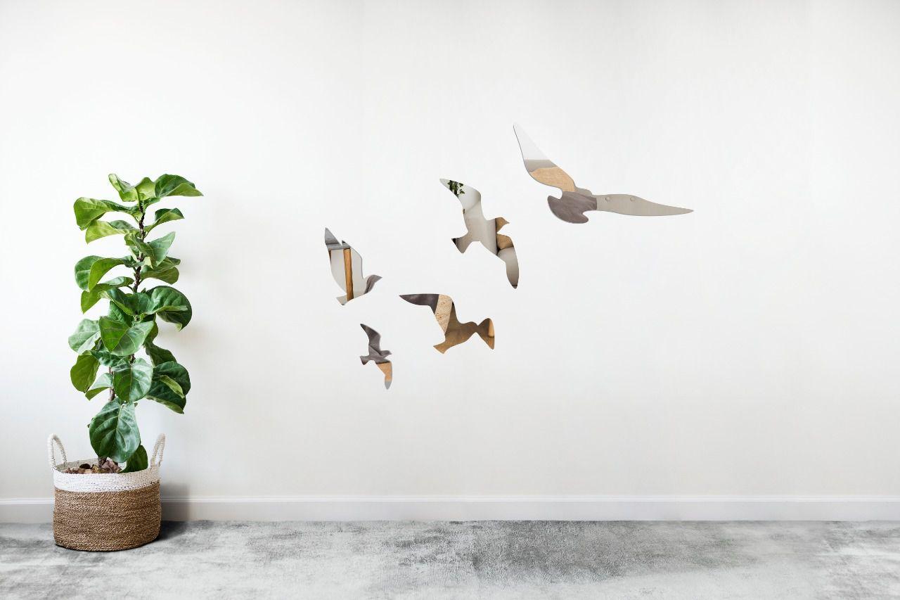 Espelho Decorativo em Acrílico Para Parede de Sala, Quarto, Cozinha e Escritório - Modelo Pássaros