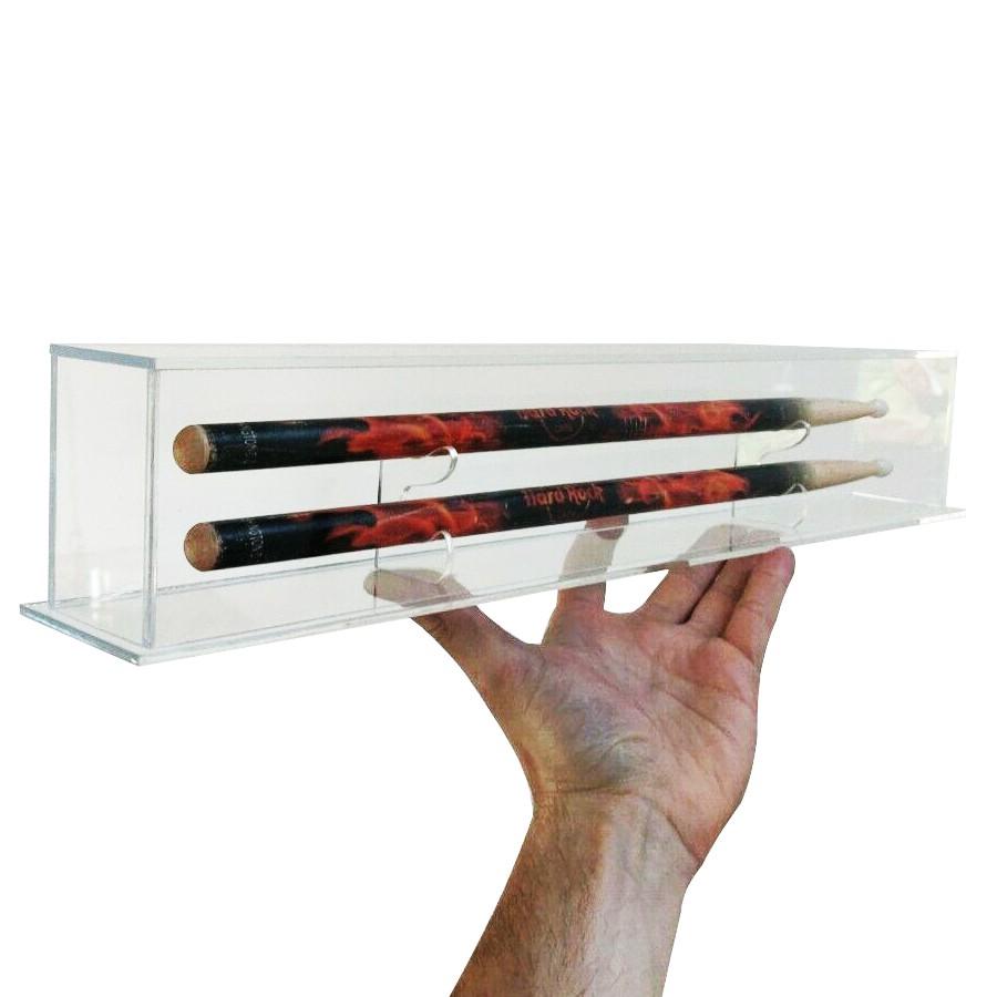 Expositor de Baquetas Raras de Colecionadores em Acrilico - Tam. 50x5x8cm