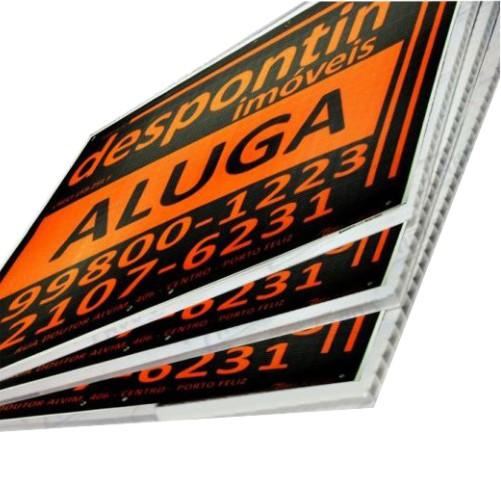 Kit 24 Placas de Vende-se e Aluga-se Para Imobiliárias Tam. 50x50cm em Policarbonato com Impressão digital