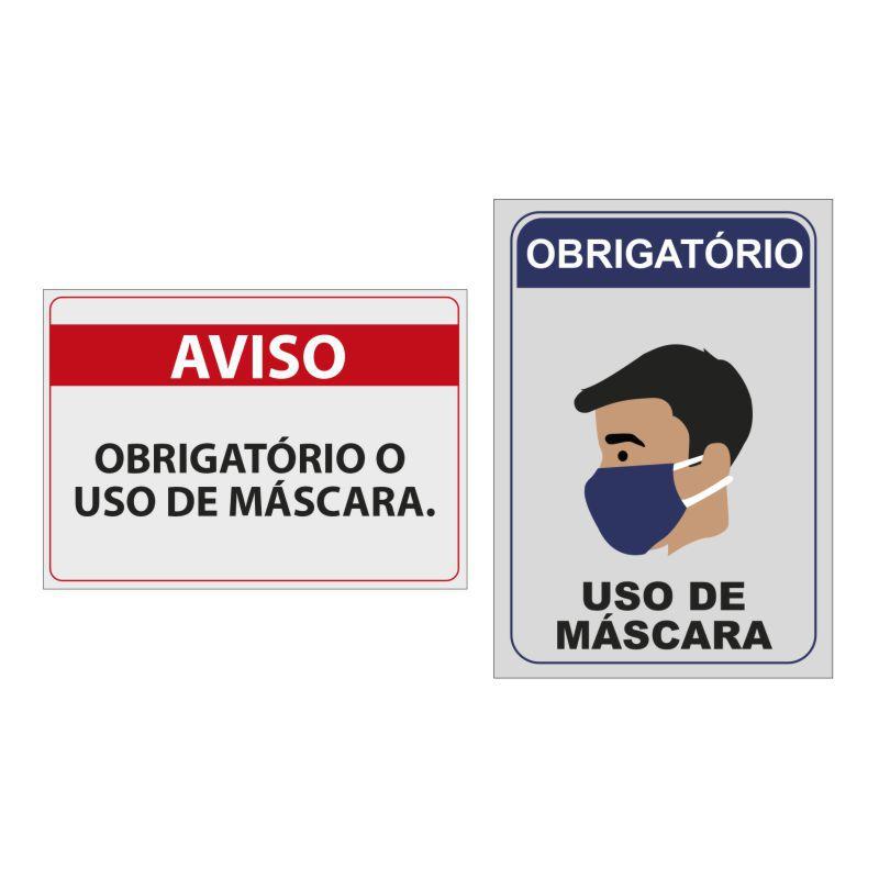 Kit com 2 Placas de Aviso Obrigatório Para o Uso Obrigatório de Máscara de Proteção 26x20cm