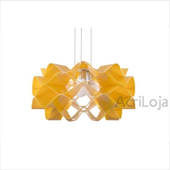 Luminaria Pendente Circe em Acrilico Amarelo 24cm, Lustre de Teto