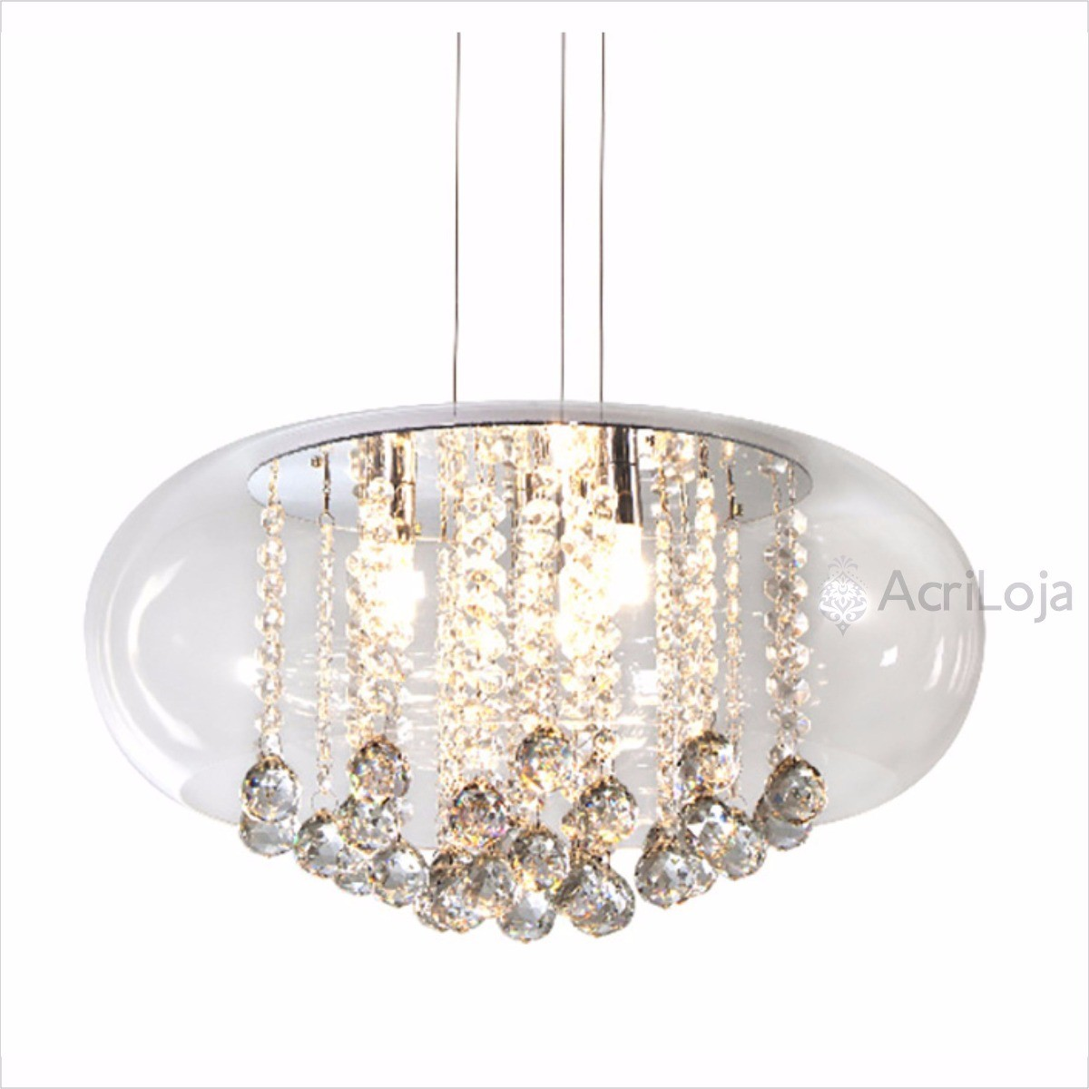 Luminaria Pendente Cristallia de Acrilico Cristal com Cristais 55cm x 18cm Altura, Lustre de Teto em Promoção
