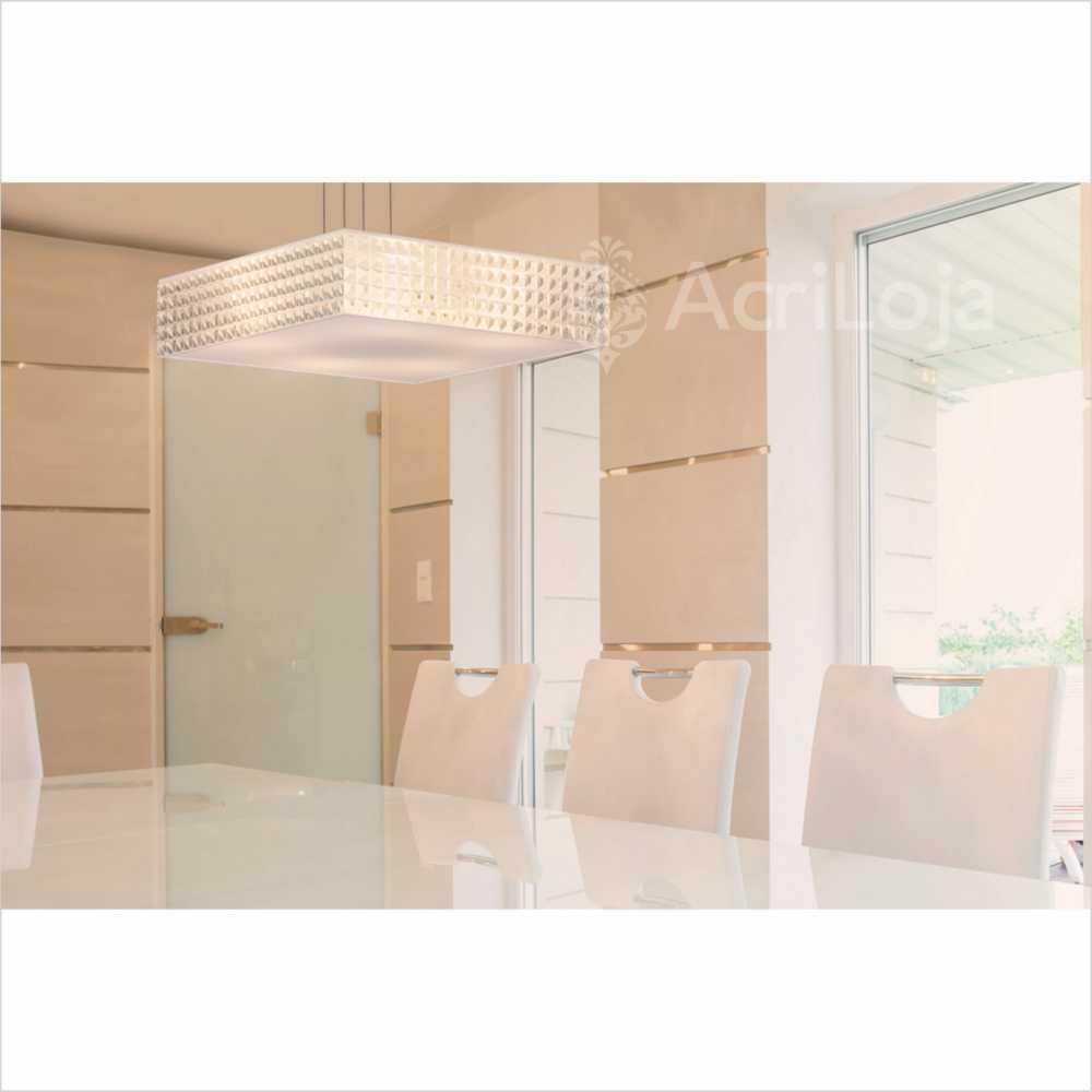 Luminaria Pendente Luce Quadrada 40x40cm, Lustre de Teto em Promoção
