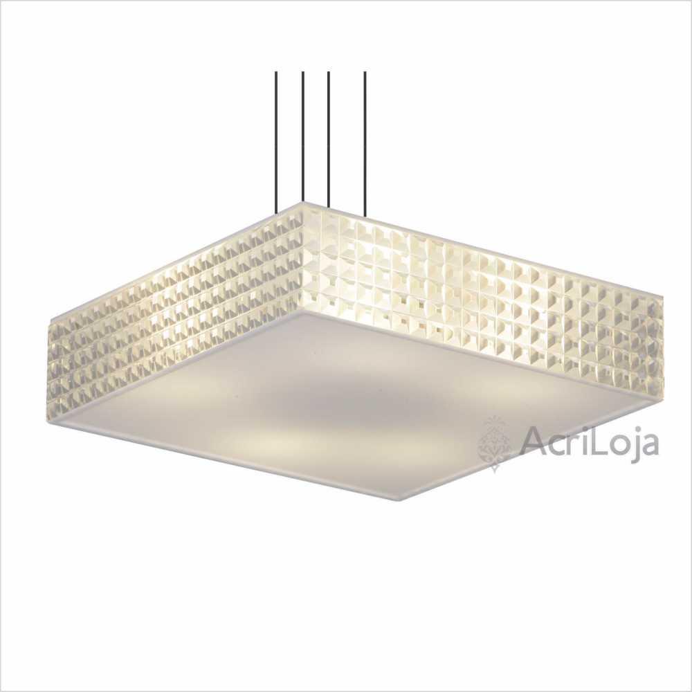 Luminaria Pendente Luce Quadrada 62x62cm, Lustre de Teto em Promoção