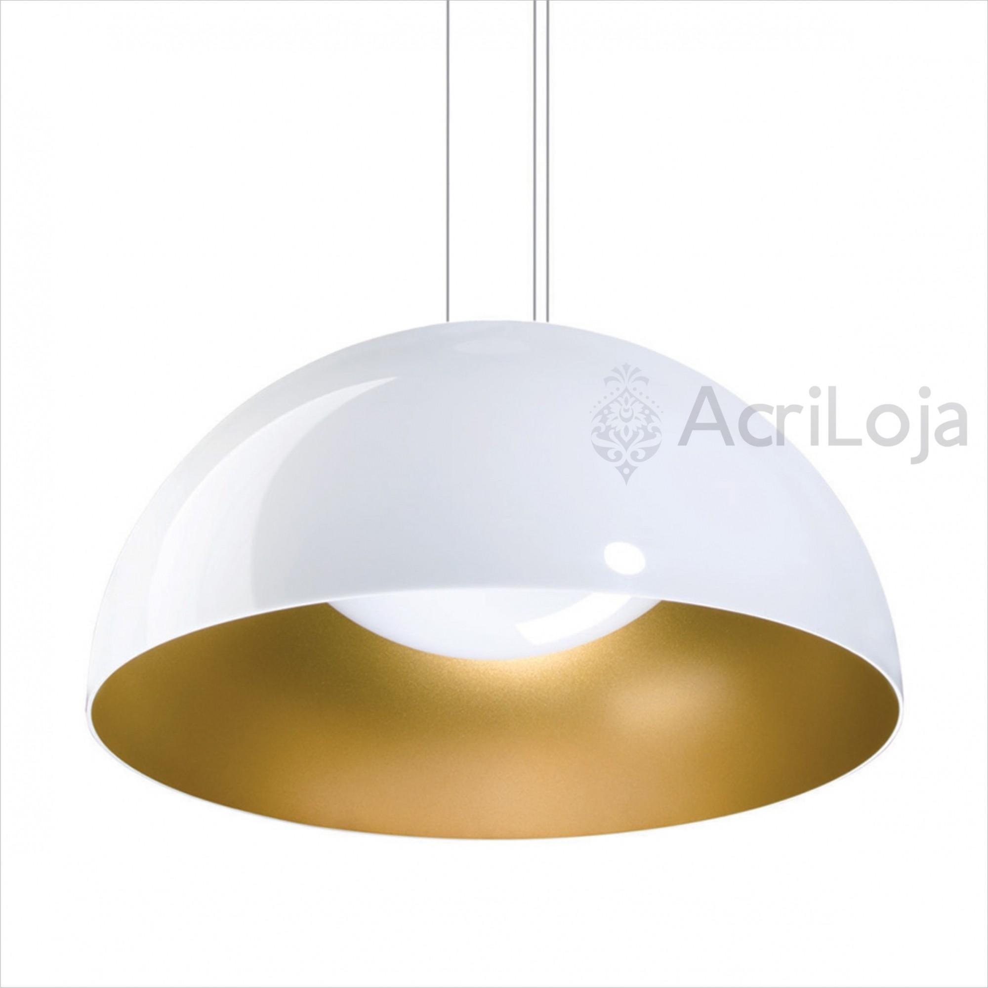 Luminaria Pendente Meia Lua Polly Bicolor Branco e Dourado 45cm x 22.5cm, Lustre de Teto em Promoção