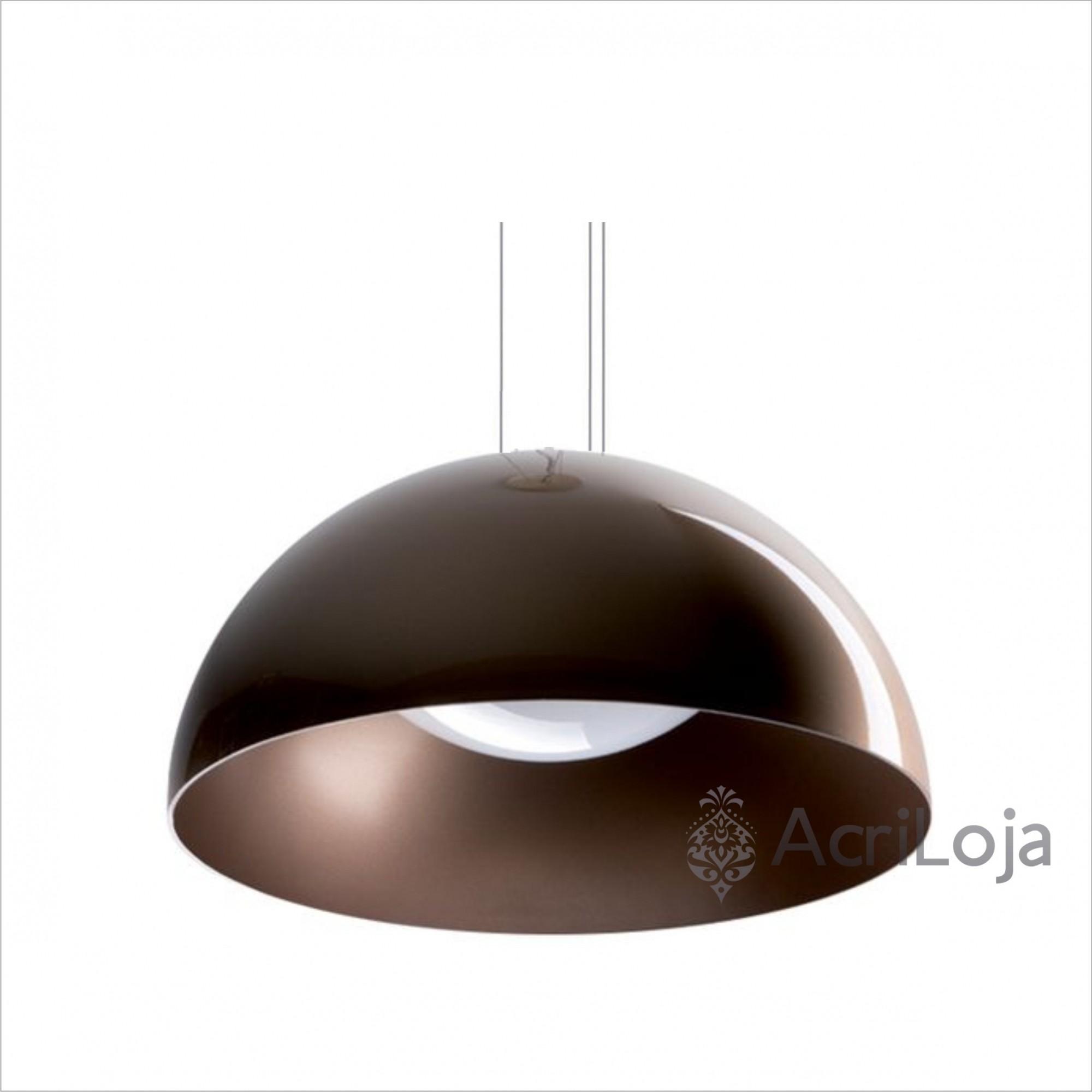 Luminaria Pendente Meia Lua Polly Bronze 45cm x 22.5cm, Lustre de Teto em Promoção