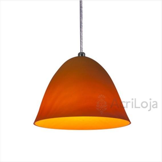 Luminaria Pendente Piccola Acrilico Laranja 20cm, Luminária para Bancada de Mesa
