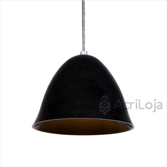 Luminaria Pendente Piccola Acrilico Preto 20cm, Luminária para Bancada de Mesa
