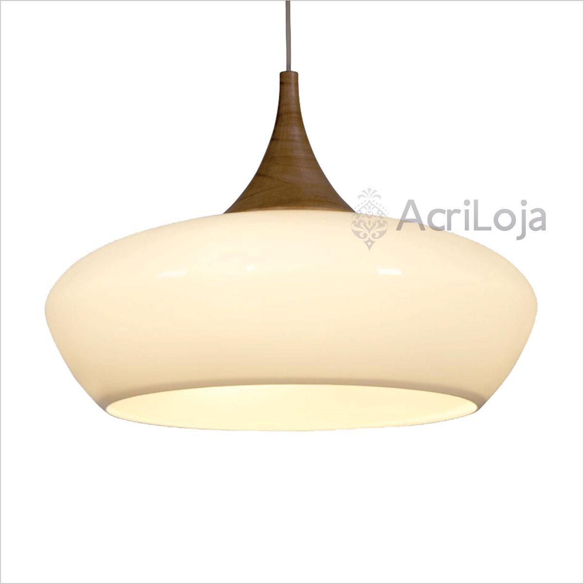 Luminaria Pendente Tune Em Acrílico Branco 60x41 3 Lâmpadas, Lustre de teto