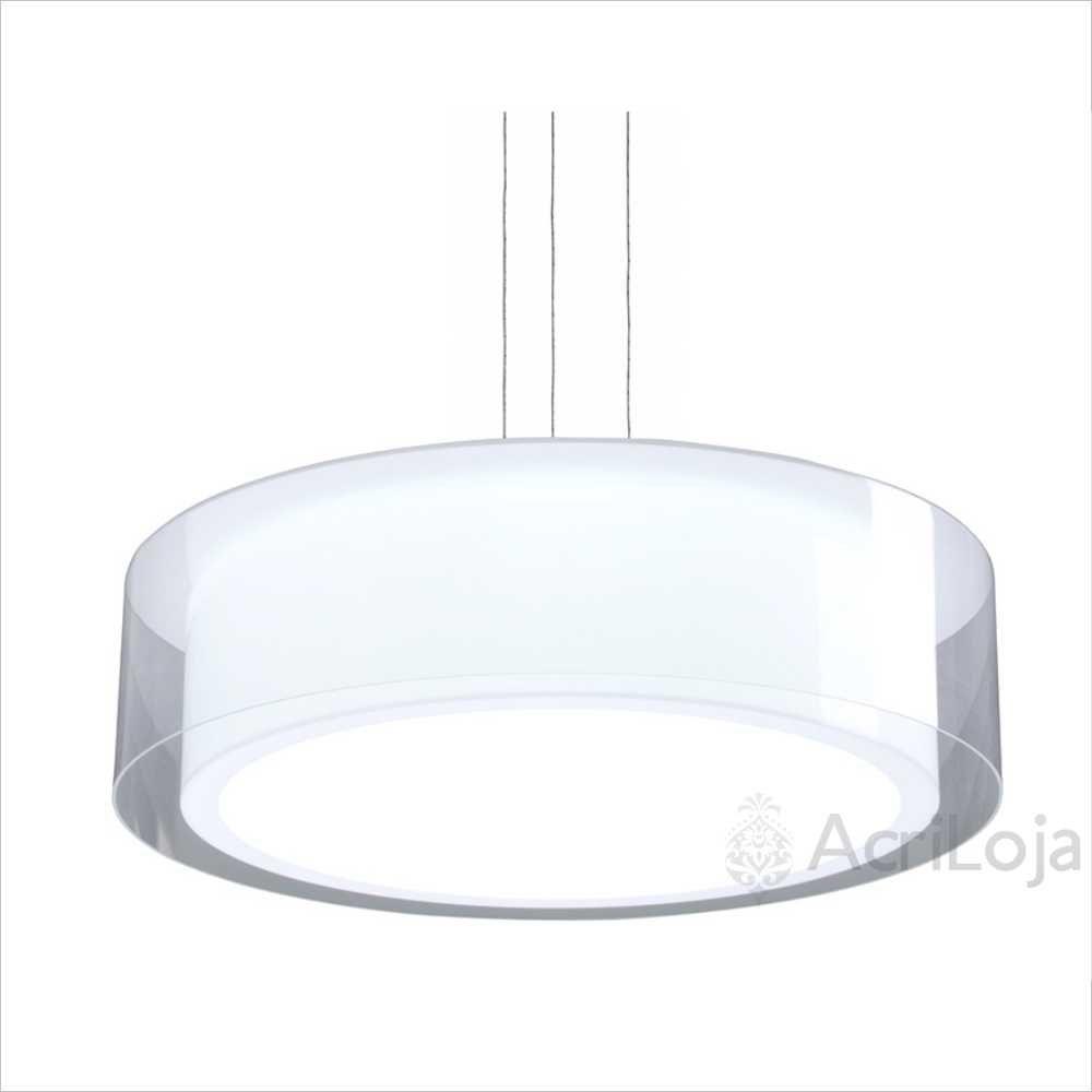 Luminaria Pendente Veneza Branco e Cristal em Acrilico 60cm, Lustre de Teto