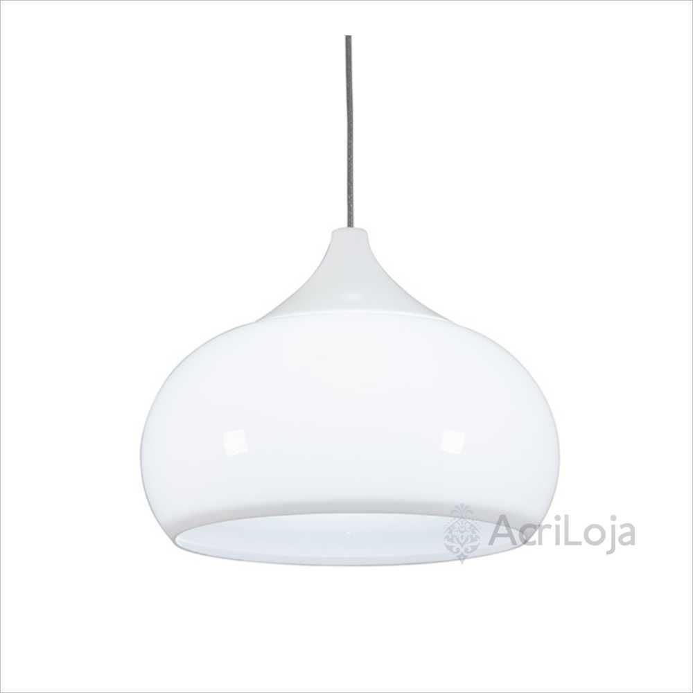 Luminaria Pendente Verona Branco em Acrilico 38cm, Lustre de Teto