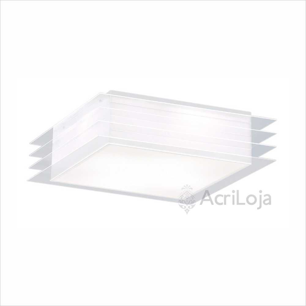 Luminaria Plafon Cisne Quadrado Acrilico 30x30 cm, Luminária de teto sobrepor