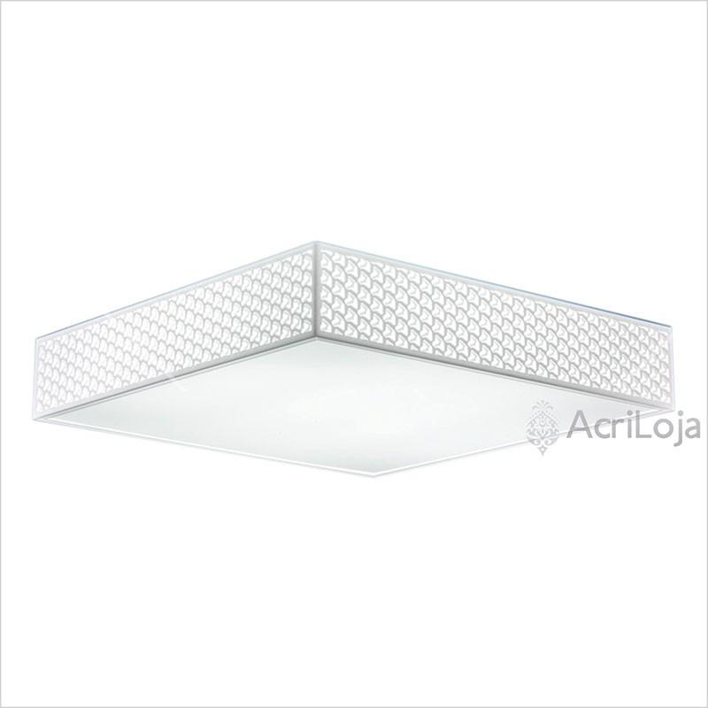 Luminaria Plafon Escher Quadrado Acrilico Branco 35x35 cm, Luminária de teto sobrepor