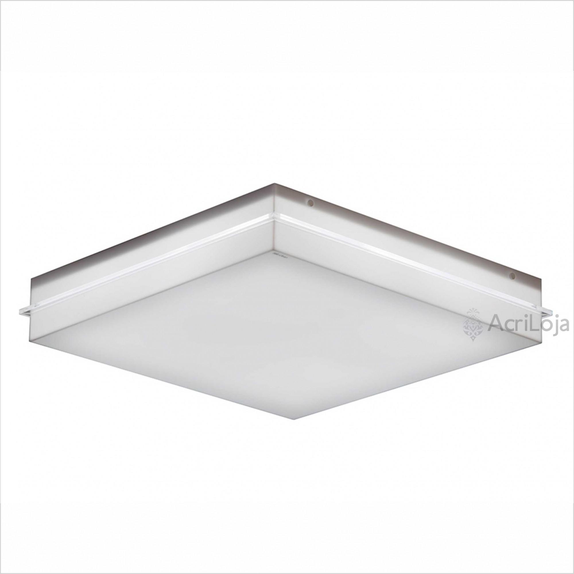 Luminaria Plafon Flora Quadrado Acrilico Branco 22x22 cm, Luminária de teto sobrepor