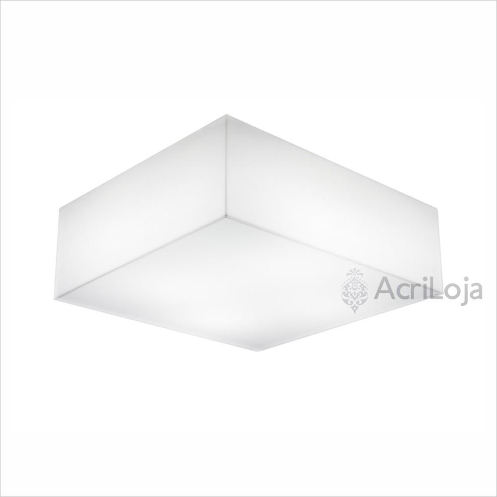 Luminaria Plafon Gama Quadrado Acrilico Branco 25x25 cm, Luminária de teto sobrepor