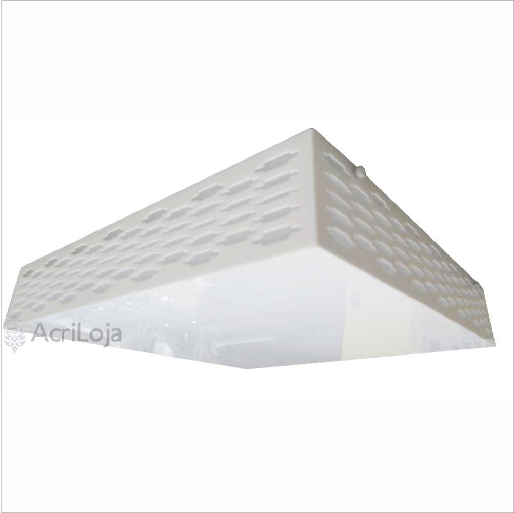 Luminaria Plafon Genebra Quadrado Acrilico Branco 62x62 cm, Luminária de teto sobrepor