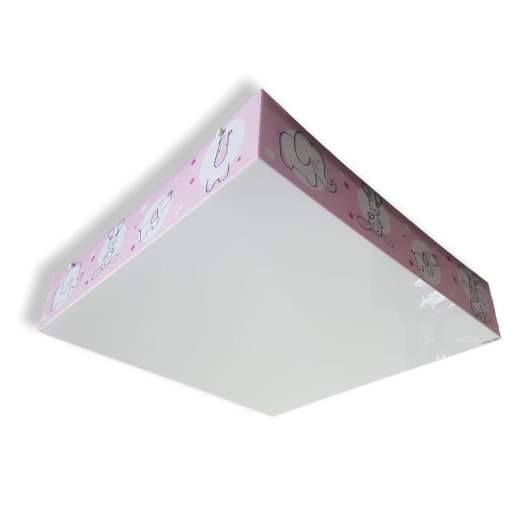 Luminaria Plafon Infantil Animais Rosa 40x40cm Para Quarto de Menina