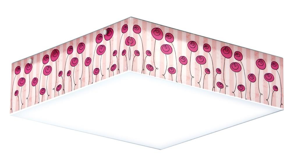 Luminaria Plafon Infantil Flores Rosa 40x40cm Para Quarto de Menina