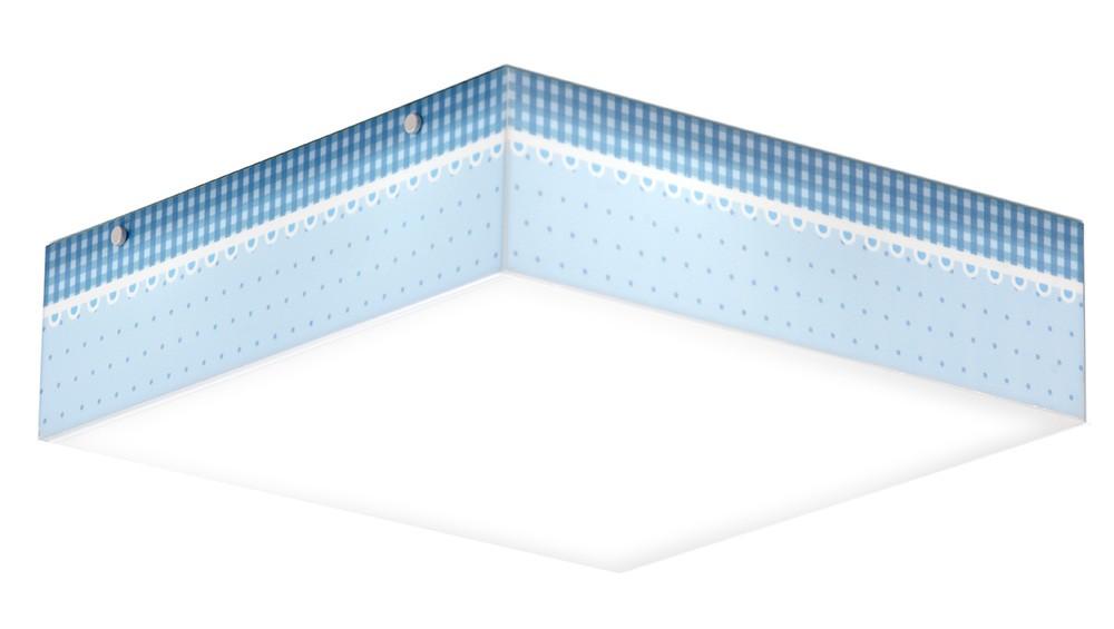 Luminaria Plafon Infantil Poá Azul 30x30cm Para Quarto de Menino