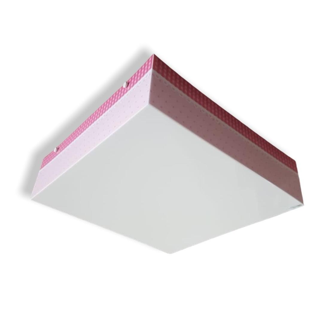 Luminaria Plafon Infantil Poá Xadrez Rosa 40x40cm Para Quarto de Menina