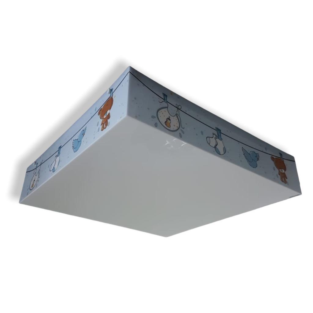 Luminaria Plafon Infantil Urso Baby Azul 30x30cm Para Quarto de Menino