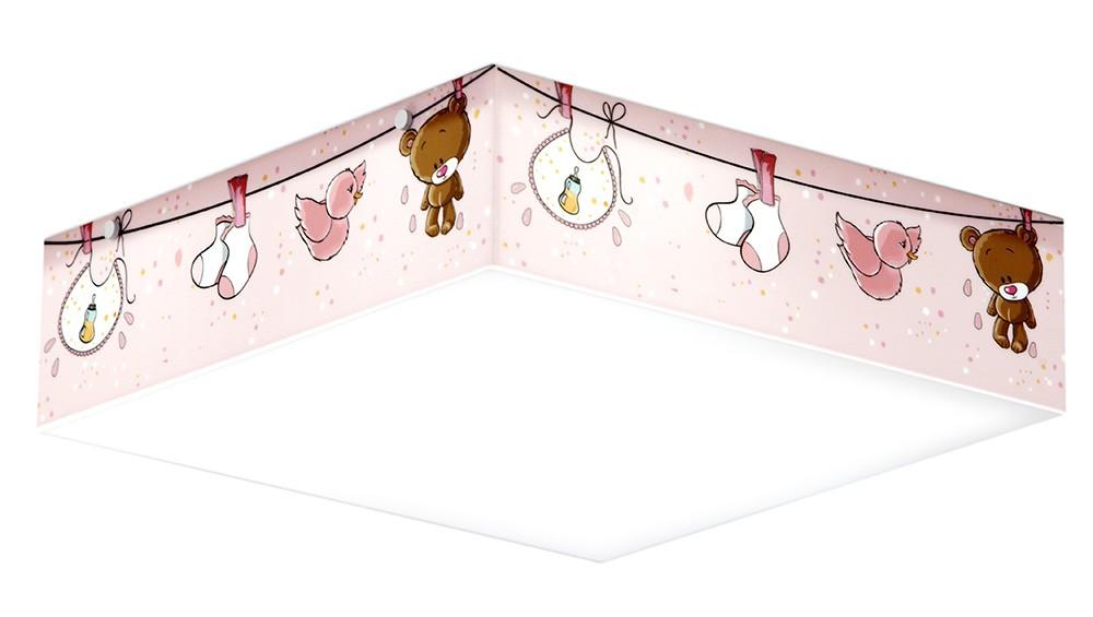 Luminaria Plafon Infantil Urso Baby Rosa 40x40cm Para Quarto de Menina