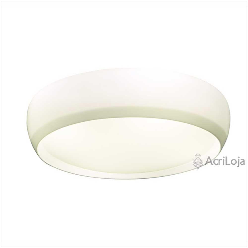 Luminaria Plafon Kaoni Redondo Acrilico Branco 58cm, Luminária de teto sobrepor