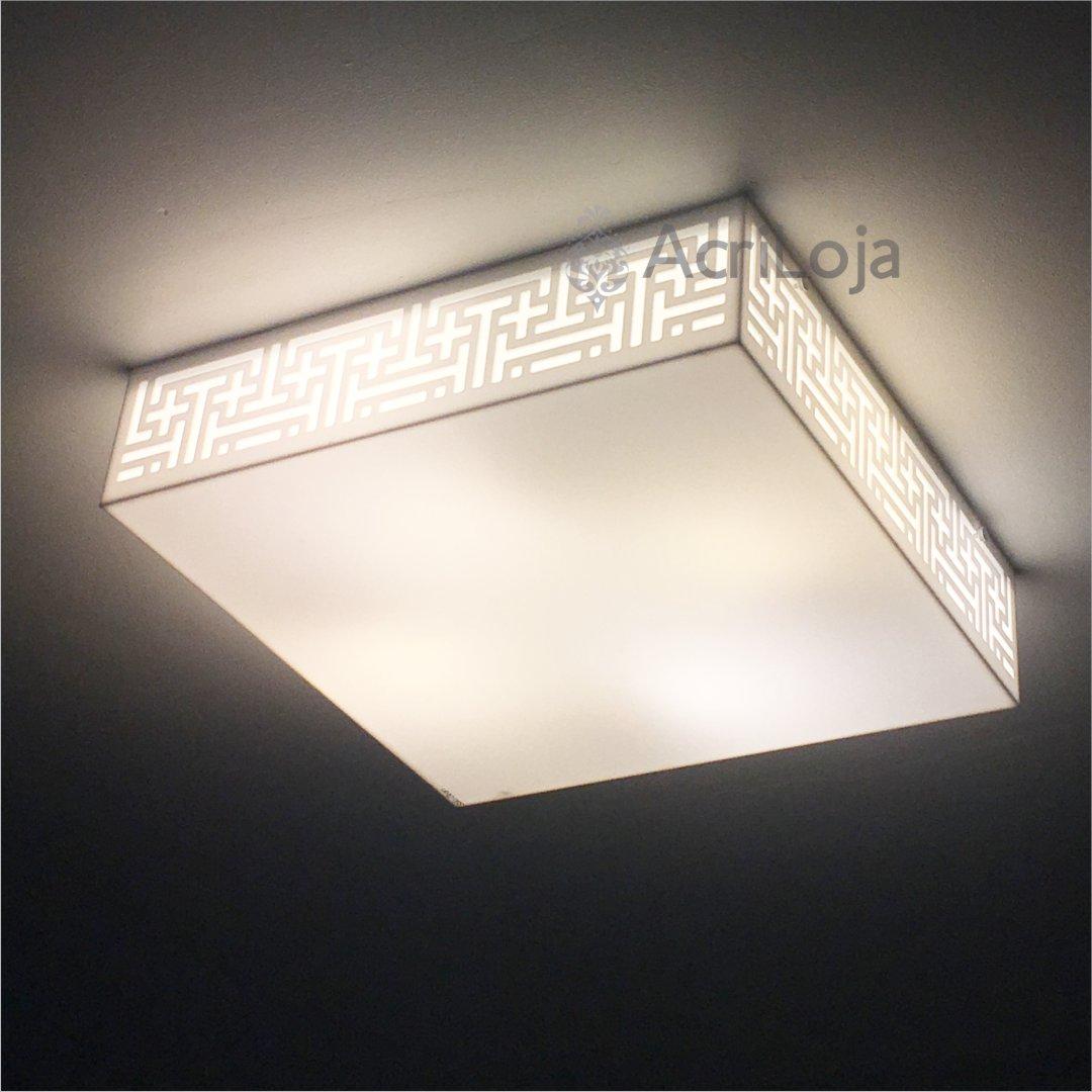 Luminaria Plafon Lausana Quadrado Acrilico Branco 22x22 cm, Luminária de teto sobrepor