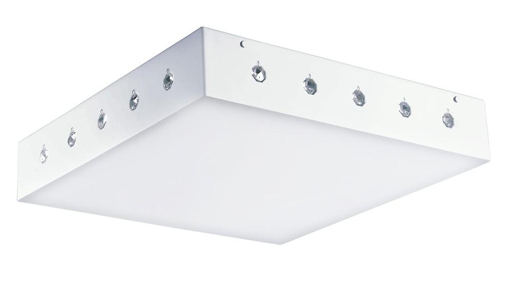 Luminaria Plafon Libra Quadrado Acrilico Branco com Cristais 62x62 cm, Luminária de teto sobrepor