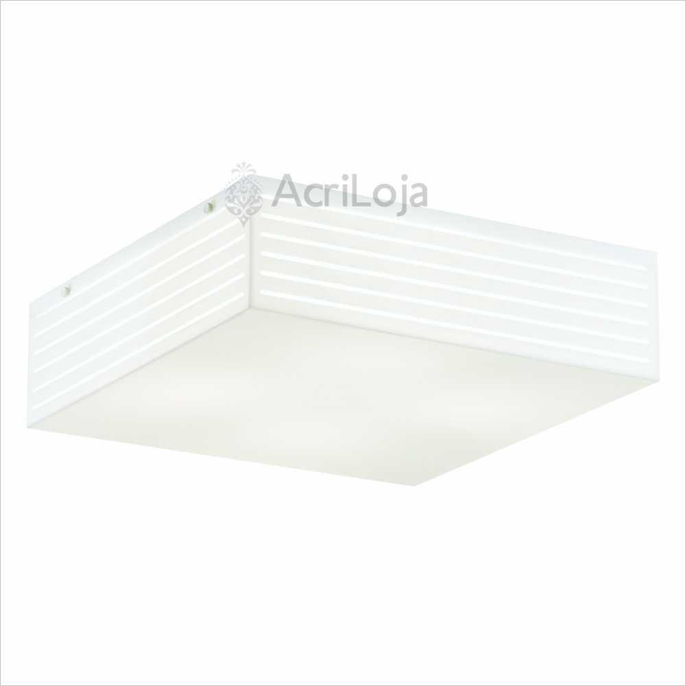 Luminaria Plafon Lumen Quadrado Acrilico Branco 44x44 cm, Luminária de teto sobrepor