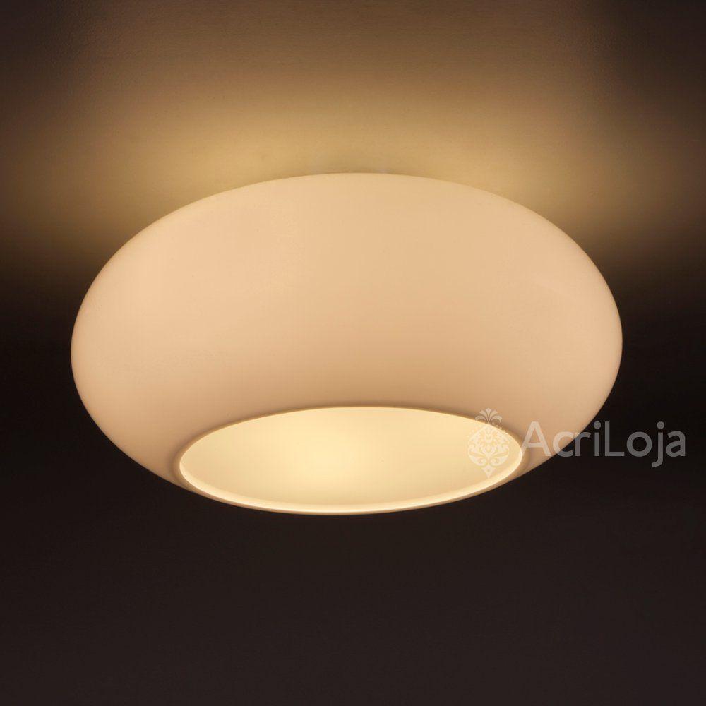 Luminaria Plafon Póllux em Acrilico Branco 45cm, Lustre de Teto