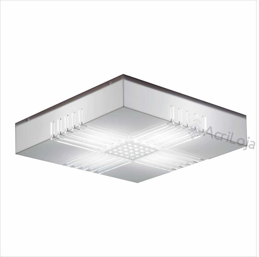 Luminaria Plafon Prisma Quadrado Acrilico Branco Prismático 30x30 cm, Luminária de teto sobrepor
