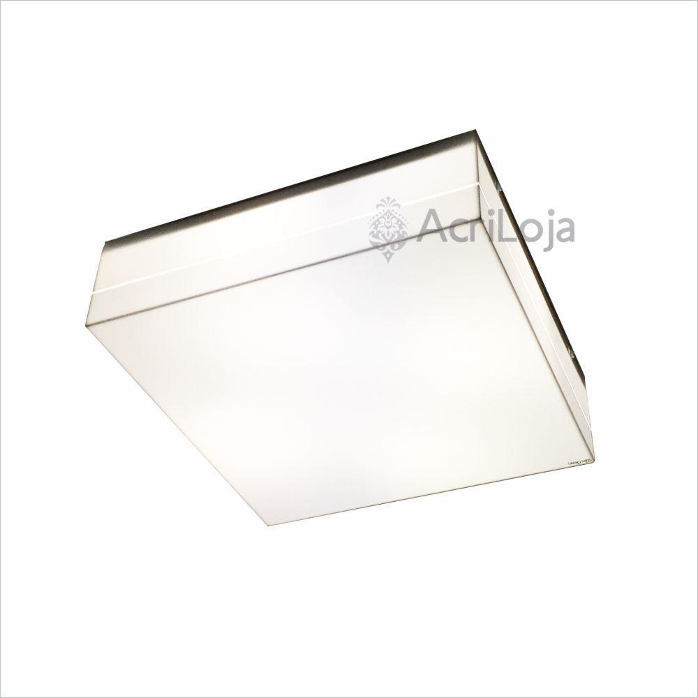 Luminaria Plafon Sarin Em Acrílico Branco 20x20cm 2 Lâmpadas, Luminaria Anti Inseto