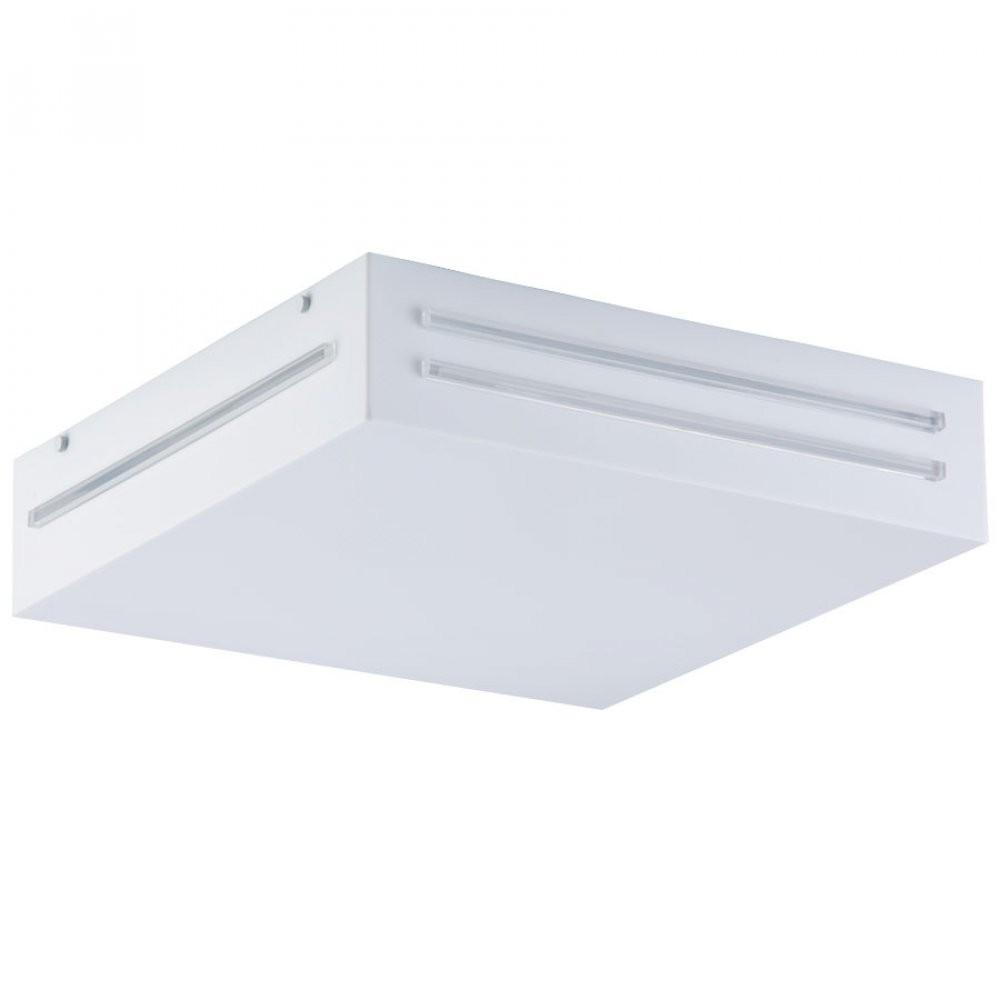 Luminaria Plafon Scutum Quadrado Acrilico Branco com Cristal 22x22 cm, Luminária de teto sobrepor